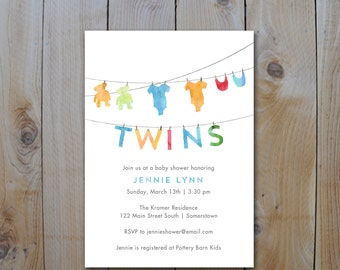 TWINS Baby Shower Invitation / Gender Neutral Baby Shower / Watercolor Clothesline / PRINTABLE INVITATION / 2105
