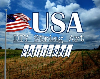 "USA - DIY State String Art Pattern - 11"" x 8.5"" - Hearts & Stars included"