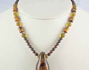 Rich Browns and Golds Enhance Unique Organic Lampwork Pendant,Necklace Set