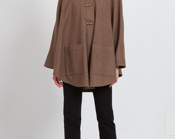 Vintage Brown Cape Poncho Jacket