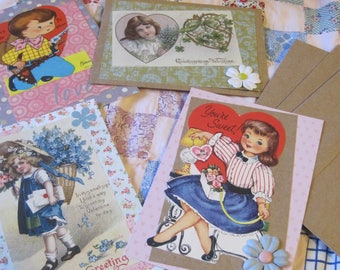 Lot THREE Vintage Style Handmade Valentines 4 Cards with Envelopes