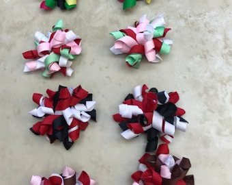 """2"""" Handmade 4 Pairs korker Bows Partially Lined Alligator Clip Various Colors baby girl toddler Spring Easter Gift Birthday goodie Bags"""
