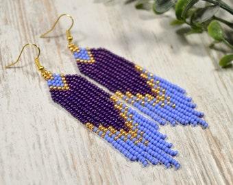 Violet Gold Beaded earrings Long beaded earrings Beadwork earrings
