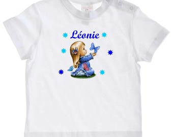baby girl Butterfly personalized with name t-shirt