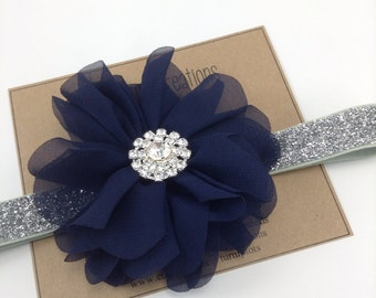Navy & Silver Headband Blue Ballerina Flower Headband Glitter Wedding Flower Girl Headband Rhinestone