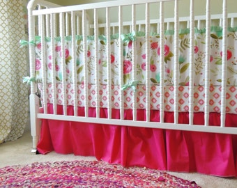Happy Floral Crib Bedding in Pink, Aqua, Mint and Gold with Floral Bumpers and Aztec Sheet, Happy Floral Fabric, Pink Crib Skirt