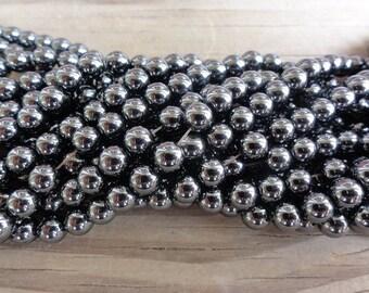 Hemalyke (Manmade Hematite) Beads - 6mm round - full strand