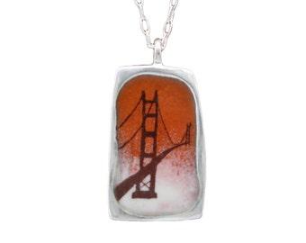 San Francisco Necklace - Reversible Enamel and Sterling San Francisco Pendant - Golden Gate Bridge - Sutro Tower