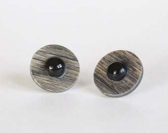 Vintage Gray and Black Wooden Mod Geometric Round Earrings