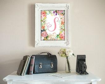 Letter S Monogram, Printable, Nursery Decor, Nursery Wall Art, Nursery Prints, Nursery Art, Letters, Monogram Floral Letter, Woodland Art