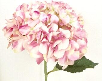 """Faux 32"""" Hydrangea Stem - Light Pink"""
