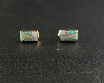 14K Gold Inlay Earrings ~ Australian Opal