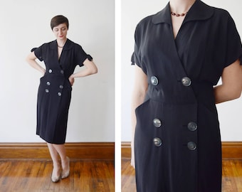 Black late 40s early 50s dress with huge buttons - M/L
