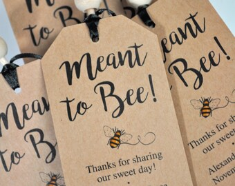 Meant To Bee Bridal Shower Favor Tags, Rustic Wedding Favors, Kraft Favor Tags, Thank You Tags, Party Favors, Personalized Favor - Set of 12