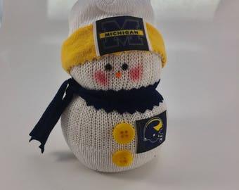 Michigan Wolverines,Michigan Wolverines decor,Michigan Wolverines accessory,Gift for Wolverines fan,Michigan Wolverines gift,sock snowman