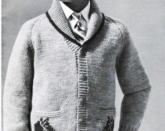 Children's cardigan knitting pattern PDF / Size 8, 10 and 12 / Boy Girl horse shawl neck sweater knitting pattern / Vintage sweater