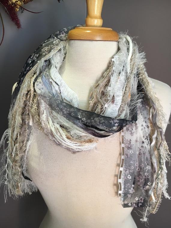 Fringe art scarf, yarn scarf, Handmade Boho Scarf, women gift, light scarf, ribbon scarf, floral ribbon, bohemian, fur