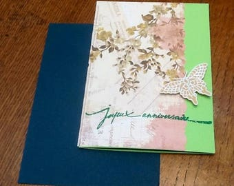 White embossed Butterfly birthday card