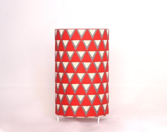 Table lamp_ red & white triangles_ 20cm tall x 12cm diameter