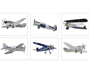 Airplane decor, Airplane Art, Gray, Mustard Yellow, Navy and Black decor or bedding Boy Airplane Nursery or Big Boy Room