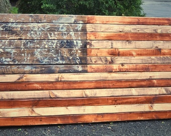 Rustic Stained Wood American Flag Wall Hanging