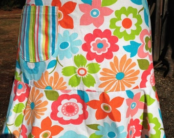 Vibrant Funky Floral Half Apron with Flair Ready for Spring