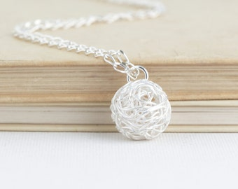 Gift For Knitter - Ball of Yarn Necklace - Sterling Silver - Gift For Mom - Knitting - Silver Yarn Charm Necklace