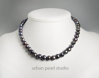 Black Pearl Necklace Baroque Pearl Choker Necklace Freshwater Pearls Simple Strand of Black Pearls