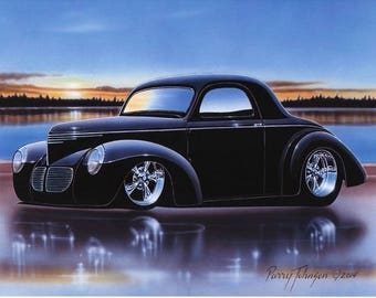 1940 Willys Coupe Streetrod Car Art Print Black