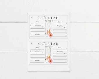 Digital download, Cocktail Recipe Cards, Printable Recipe Cards, Printable Cocktail Recipe Cards, Printable Christmas Recipes, set of 2