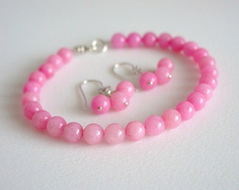 Pink Jade Earrings / Pink Jade Bracelet / Matching Set / Pink Jade / Sterling Silver / Earrings / Bracelet / Sweet / Pink / Candy / Pastel