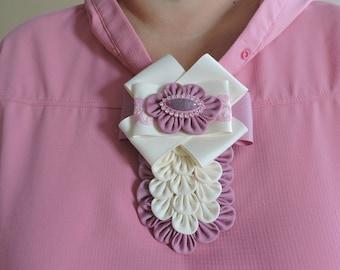 Ladies fabric pin brooch tie.Beige and pink  bow brooch tie. Uniform brooch tie. Brooch with kanzashi flowers.Bow tie brooch pin.