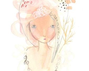 Whimsical original girl illustration, one of a kind art