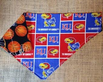 KU Basketball Double Sided Collar Style Dog Bandana