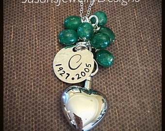 Heart Urn Necklace with emerald cluster - sterling silver heart urn & 1-sided disc and chain - emerald beads -custom wording available -OOAK