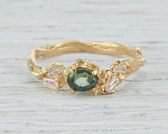 Green Montana Sapphire Nature Engagement Ring - Earthy Green Sapphire Twig Engagement Ring, Gold Bridal Twig Engagement, Unique Ring