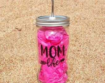 Mom Life Cup - Hand-Painted 28oz Glass Mason Jar with Stainless Steel Straw - Glass Water Bottle - Personalized Glass Cup