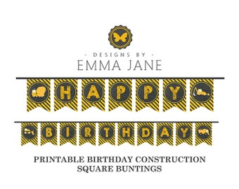 Printable Construction Birthday Square Bunting, Party Printables, Instant Download, Construction Party Decorations, 1st 2nd 3rd Birthday