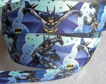 SUPER hero BATMAN bat * 25 mm * Ribbon printed grosgrain Ribbon - sold by the yard