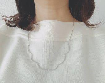 Wavy pendant silver necklace wave cubic zirconia
