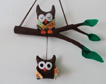 2 mobile owls, child's room decor
