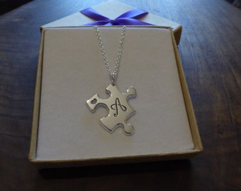 Handmade Silver Puzzle Pendant with Script Initial