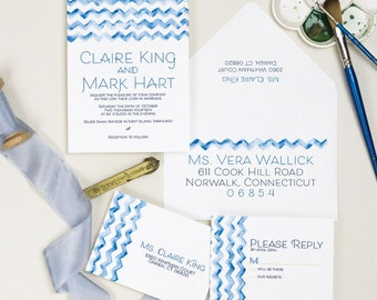 Chevron Wedding Invitation, Watercolor Wedding Invite Sample
