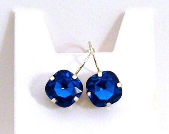 Sapphire Blue Earrings, Blue Bridesmaid Jewelry Square Crystal Royal Blue Earrings Bridesmaid Earrings Royal Blue Bridesmaid Wedding Jewelry