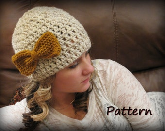 CROCHET PATTERN PDF , Crocheted Bow Beanie - Women's hat, Teen beanie, Instant download, CaN sell items made from this pattern