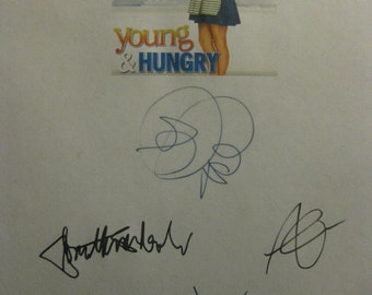 Young & Hungry Signed TV Script Screenplay Autographs Emily Osment Jonathan Sadowski Aimee Carrero Rex Lee Signatures reprint comedy sitcom