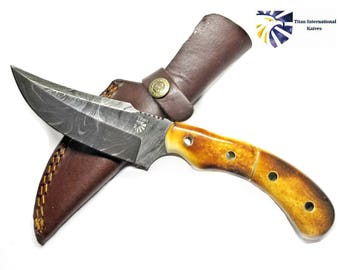 Damascus Knife Burnt Bone Handle by Titan TD-402
