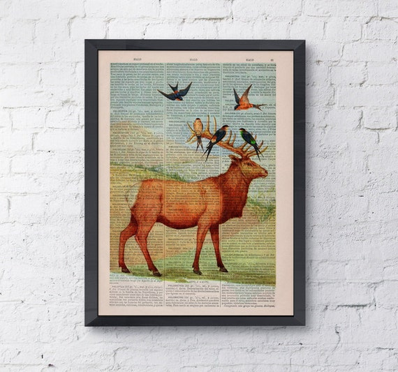 Deer with birds on Upcycled Book page Print Vintage Art Print Deer head with birds ANI044