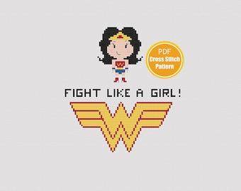 Wonder Woman Cross Stitch - Fight Like A Girl - Feminist - Cross Stitch Pattern - PDF File