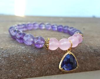Aquarius Amethyst Bracelet, Amethyst Bracelet, Amethyst Beaded Bracelet, Purple Bracelet, Beaded Elastic Bracelet with Pendant
